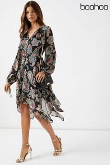 Boohoo Paisley Print Hanky Hem Dress