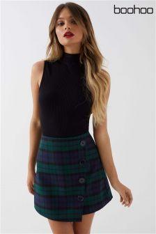 Boohoo Button Wrap Check Mini Skirt