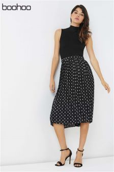 Boohoo Pleated Polka Dot Mini Skirt