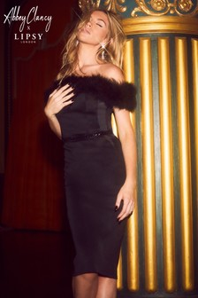 Abbey Clancy x Lipsy Feather Bardot Midi Dress