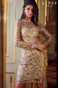 Lipsy Long Sleeve Embroidered Bodycon Dress