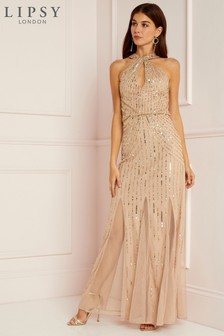 Lipsy All Over Sequin Twist Halterneck Maxi Dress