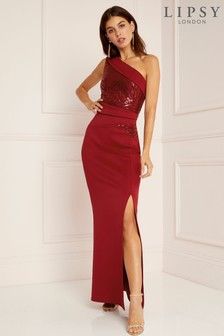 Lipsy Petite Sequin Panel One Shoulder Maxi Dress