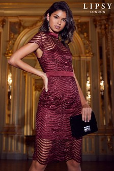 Lipsy All Over Sequin Scallop Bodycon Dress