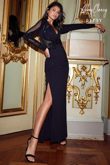Lipsy x Abbey Clancy Tall Long Sleeve Sequin Plunge Maxi Dress