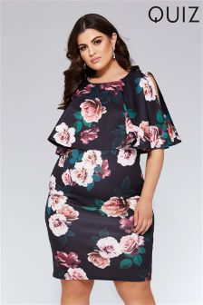 Quiz Curve Floral Print Cold Shoulder Midi Dress