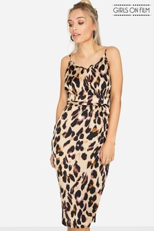 Girls On Film Leopard Print Satin Slip Dress