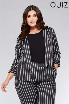 Quiz Curve Stripe Ruched Sleeve Jacket