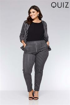 Quiz Curve Stripe Taper Leg Trousers