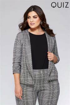 Quiz Curve Check Ruched Sleeve Jacket
