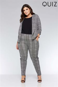 Quiz Curve Check Tapered Leg Trousers