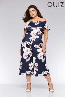 Quiz Curve Floral Print Bardot Culotte Jumpsuit