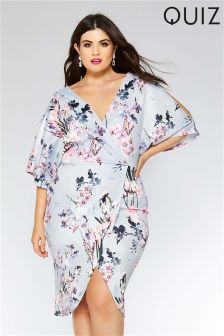 Quiz Curve Floral Print Wrap Front Midi Dress