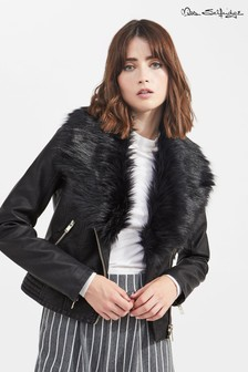 Miss Selfridge  Faux Fur Biker Faux Leather Jacket