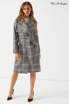 Miss Selfridge Check Wrap Coat