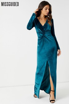 62abdf8eea Missguided Velvet Wrap Maxi Dress