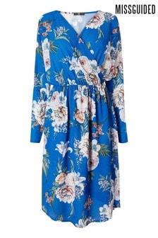 Missguided Plus Floral Wrap Tie Waist Midi Dress