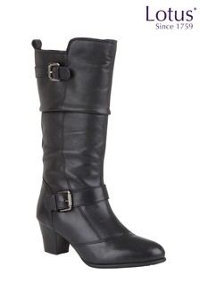 Lotus Leather Calf Length Boots