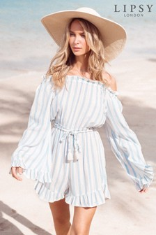 Lipsy Stripe Linen Playsuit