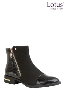 Lotus Decorative Trims Ankle Boots