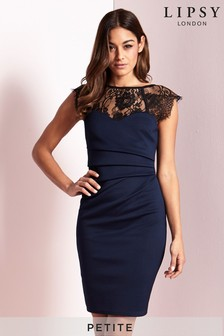 Lipsy Petite Short Sleeve Lace Eyelash Bodycon Dress