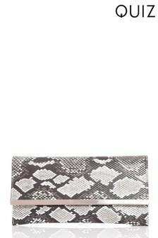 Quiz Snake Print Clutch