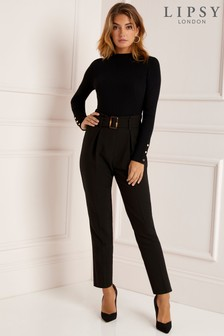 Lipsy Petite Horn Buckle Tapered Trouser