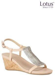 Lotus Cork Effect Diamanté Sandals