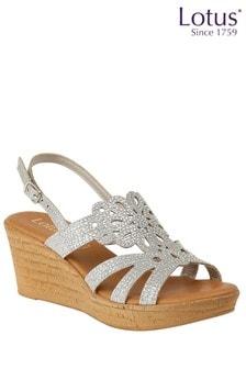 Lotus Diamanté Cork Effect Wedge Heel Sandals
