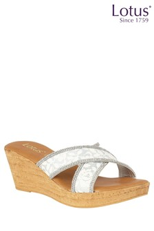 Lotus Diamanté Cork Effect Wedge Sandals