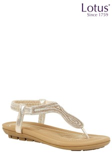 Lotus Diamanté Toe Post Sandals