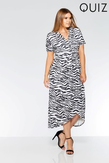 Quiz Curve Print Wrap Dress