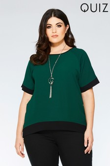 Quiz Curve Crepe Contrast Necklace Top