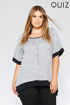 Quiz Curve Light Knit Contrast Necklace Top
