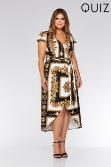 Quiz Curve Print Wrap Dress