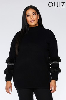 Quiz Curve Faux Fur Sleeve Jumper