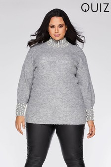 Quiz Curve Knit High Neck Pearl Embellished Jumper