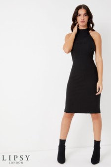 Lipsy High Neck Rib Midi Dress