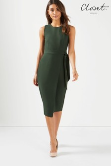 Closet Tie V Back Pencil Midi Dress