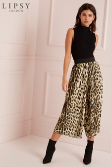 Lipsy Leopard Pleated Culotte Trouser