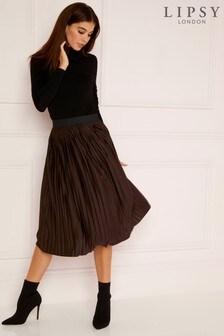 Lipsy Chocolate Pleated Midi Skirt