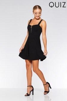 Quiz Zip Front Skater Dress