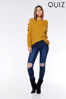 Quiz Skinny-Jeans mit mittelhohem Bund und Zierrissen an den Knien