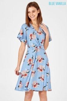Синее приталенное платье Vanilla Printed