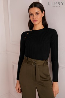 Lipsy Buttoned Ribbed Jumper