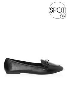 Spot On Metal Trim Faux Leather Loafer