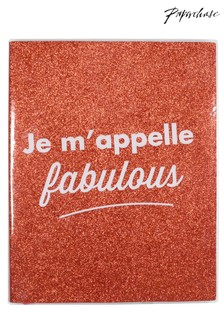 Paperchase Je m'appelle Fabulous Red Glitter Lined Notebook