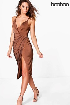 Boohoo Mini Draped Dress