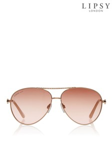 Lipsy Rose Gold Diamanté Aviators
