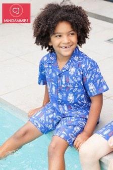 Пижама из топа и шортов с космическим принтом в стиле ретро Minijammies